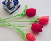 PDF Crochet Flower Tulip Pattern  - Easy crochet - flower wedding perfect bouquet - home vase arrangement - Instant DOWNLOAD