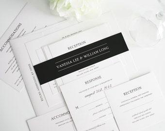 Simple Wedding Invitation, Elegant Black and White Wedding Invitation Package - Simple Elegance - Sample Set