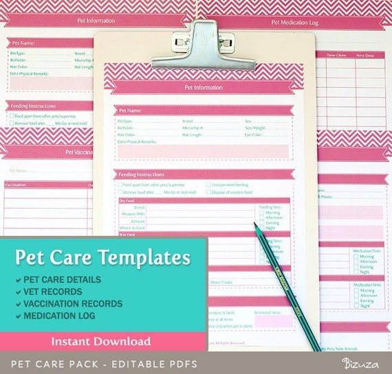 Pet care records templates 4 editable pdf files for a4 by for Pet health record template