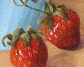 Small Acrylic Painting - Original ACEO Painting, Still Life Mini Painting with Strawberries Kitchen Art