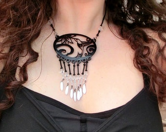 Bird Necklace - Hummingbird and Flower - Black and White - Unique Humming Bird Pendant Laser Cut from Original Drawing by Laura Cesari