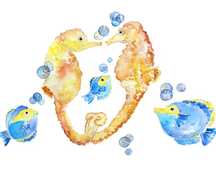 fish watercolor watercolor seahorse print kids bathroom art fish painting