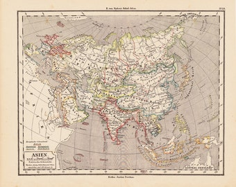 1873 Antique ASIA map from Justus Perthes,  original antique 146 years old map