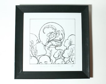 Mountain Folk- Original Ink Illustration - hand drawn art
