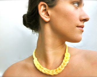 Ombre Statement Necklace - Choker - Yellow Tangerine Orange - Recycled Jewelry