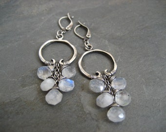 Moonstone hoops, rainbow moonstone, statement earrings, blue flash, moonstone dangle, cascading earrings, handmade jewelry