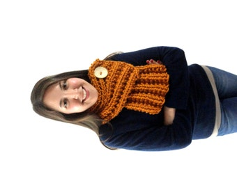 Button Cowl - Butterscotch Orange with a Cream Button