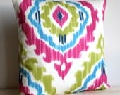 Cerise and Green Ikat Pillow Sham 18 Inch Ikat Cushion Cover Pillow Cover - Ikat Tribal Cerise
