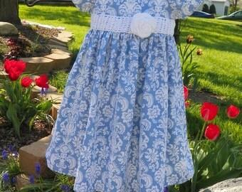 Girls Summer Dress Flower Girl Dress toddler dress hand crocheted trim in blue aqua pink green or red damask cotton fabric