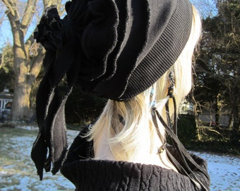 Black Rose Slouch Beanie Merino Wool Blend Womens Fashion Hats Rag Tie Back Slouchy Hat A930