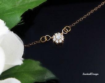 Cubic Zirconia Necklace, Minimal Necklace, Tiny Necklace, Delicate Necklace, Dainty Necklace, Bridal Jewelry, Wedding Jewelry, CZ necklace