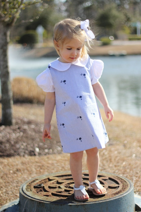 South Carolina Palmetto Tree Seersucker Dress, Matching boys Jon Jon available