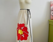 1970s Boho White Apron Wrap Skirt with Large Red Flower Applique