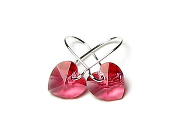 Pink Hearts Swarovski Crystal Silver Earrings, Tiny Pink Heart Earrings, Romantic Heart Jewelry, Pretty Indian Pink Swarovski Crystal Hearts