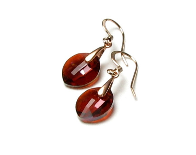 Swarovski Crystal Rust Leaf Earrings, Red Magma Crystal, Antique Copper Earrings, Fall Leaves, Nature Inspired, Boho Jewelry, Autumn Jewelry