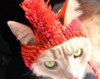 Mohawk Cat Hat - Red Tie Dye - Hand Knit Cat Costume (READY TO SHIP)