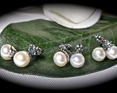 Pearl earrings - Freshwater -  AA - 6-7mm - Sterling Silver - Post - Bridesmaids- Mother of the Bride - GIFT - Bridal jewelry