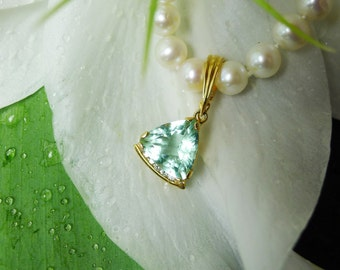 Pendant With Enhancer, Pearl Enhancer, 18k Gold, Diamond Accents, Green Fluorite Natural Gemstone