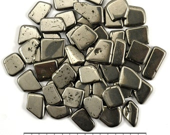 3 PYRITE Mini Slices Pyrite Tumbled Stone Mixed Shapes Nugget Healing Crystal and Stone Fools Gold Reiki, Feng Shui, Jewelry & Crafts