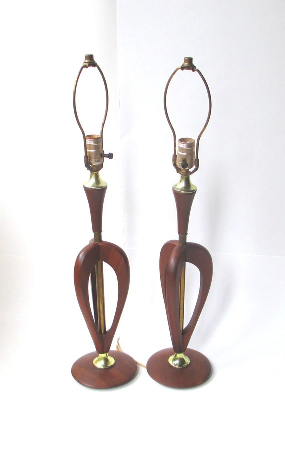 Mid Century Danish Modern Pair of Table Lamps, Vintage Teak and Brass Lamps