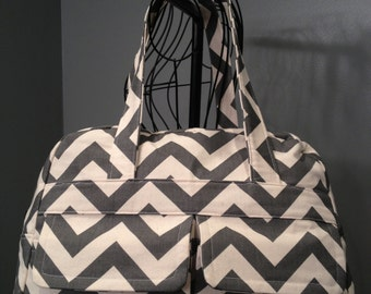 Grey Chevron Diaper Bag - Doctor's Bag Style