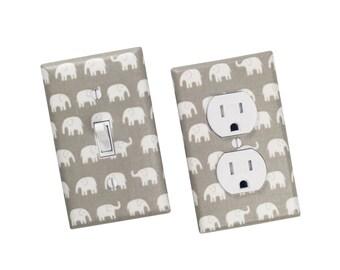 Gray Elephant Light Switch Plate & Outlet Cover / Gender Nuetral Nursery Decor / Kids Room Switchplate / Slightly Smitten Kitten