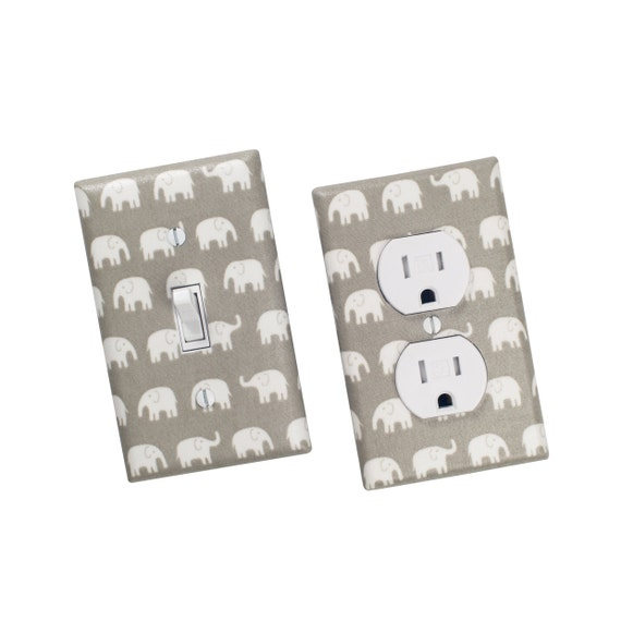 Gray Elephant Light Switch Plate & Outlet Cover / Gender Nuetral Nursery Decor / Kids Room Switchplate / Slightly Smitten Kitten