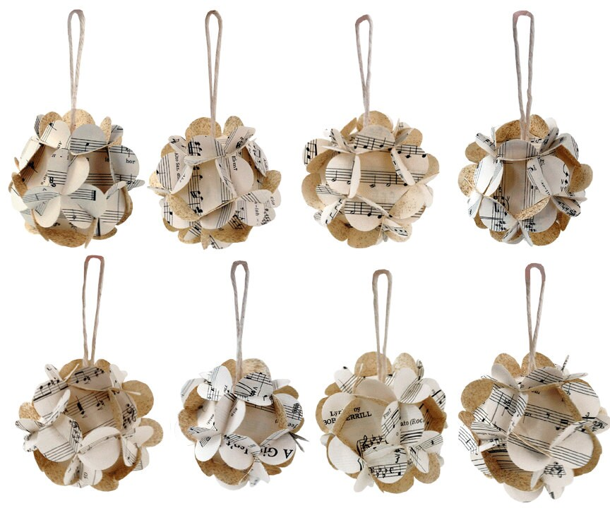 Homemade Paper Christmas Ornaments: Handmade Upcycled Music Score Paper Ball Ornaments Vintage