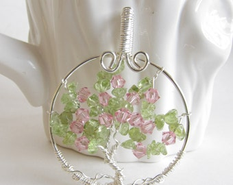 Tree of Life Pendant Spring ,  Blooming apple tree , Tree of Life