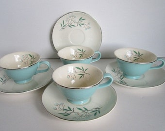 Teacup and Saucer 10 fl. oz. Turquoise Blue Branching Floral Circa 50's