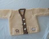 Handmade,  Crochet,Cream, Cuddle Brown, Lion, Lamb, Sweater, Cardigan, 24 month, Baby, Boy, Winter, Fall