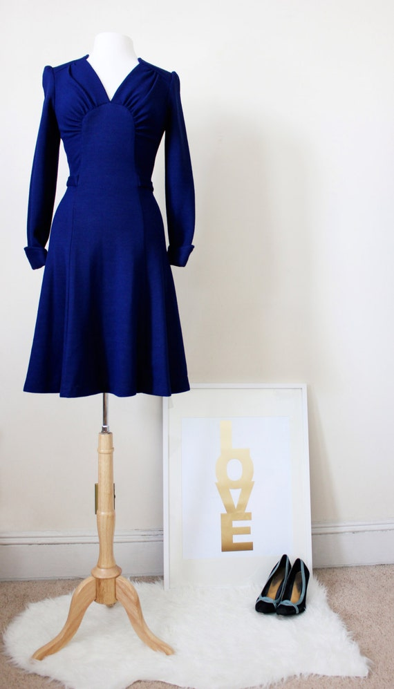 1970's Vintage Secretary Skater Skirt Dress - Royal Blue Dress - Cobalt Blue Dress - Size Small