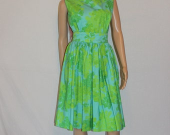Vintage 50's Martha Sleeper Day Dress - Ultra Rare - Tropical Dress - Tiki Oasis - Party Dress - S/XS - Full Skirt
