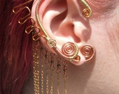 Matched PAIR of Elegant Mermaid Earwraps--Wire Wrapped Ear Cuffs No Piercings Necessary