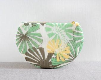 July clutch - 50% off on sale one of a kind half moon clutch, summer green flower leaf pattern