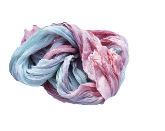 Grace -  mint, pink, coral, green silk ruffled scarf.