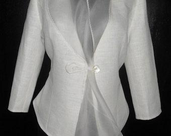 Linen jacket for woman  linen blazer with organza collar  White Basic  linen Jacket Slim Blazer Wedding Jacket Custom Order