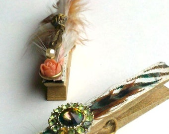 2 Victorian Clothes Clips Embellished in Vintage Gold Peach Green Feathers Gems & Lace