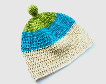 Baby Crochet hat Baby boys summer hat with a knob Baby summer accessory Striped hat White turquoise green hat Organic baby hat