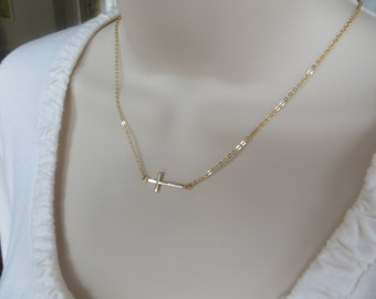 Gold Filled Sideways Cross Necklace - Skinny Sideways Cross Pendant