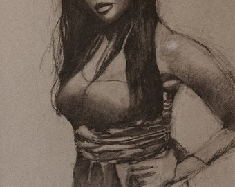 """Charcoal figure drawing fine art digital print of original charcoal on toned paper, Woman in Satin Dress, by Vernon Grant 11"""" x 15"""""""