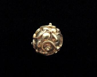 SALE Artisan Flower Bead 12mm Round Gold Vermeil Bead B214
