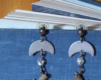 80's Silver Western Earrings Cowboy Boot