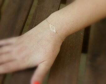 Gold filled bracelet, gold bracelet, hamsa, luck bracelet, dainty bracelet