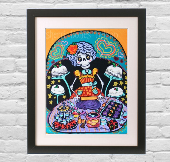 Kitchen Print Kitchen Wall Art Purple Kitchen Decor Gratitude: Folk Art Print. Mexican Day Of The Dead Kitchen Wall Decor. La