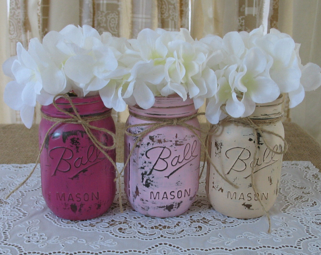 sale set of 3 pint mason jars painted mason jars baby