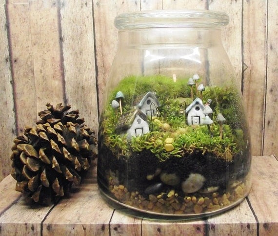 Gypsy Raku: Live Moss Terrarium with tiny raku fired ceramic houses and mushrooms