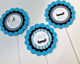 3 - Centerpieces or Cake Toppers - Mustache Bash Little Man Baby Shower Theme  - Party Packs Available