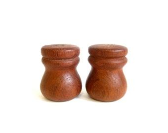 Vintage Teak Salt & Pepper Shakers Danish Modern Round