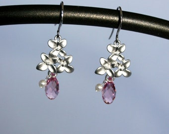 Hayley  -  Cherry blossom earrings with pink crystals and pearls
